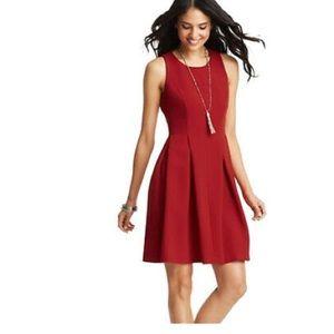 Loft Ann Taylor fit flare red dress